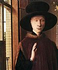Jan van Eyck Portrait of Giovanni Arnolfini and his Wife [detail 1] painting